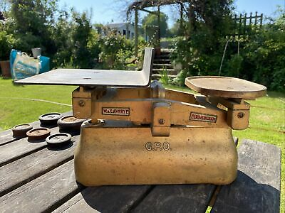 £45 • Buy 7 Lb General Post Office Scales Avery Birmingham Vintage G.P.O. In Gold 1959