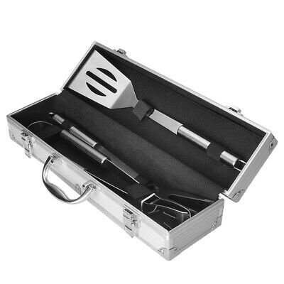 £7.99 • Buy 3Pcs BBQ Grill Cooking Utensils Kit Stainless Steel Tool Outdoor Camping & Case