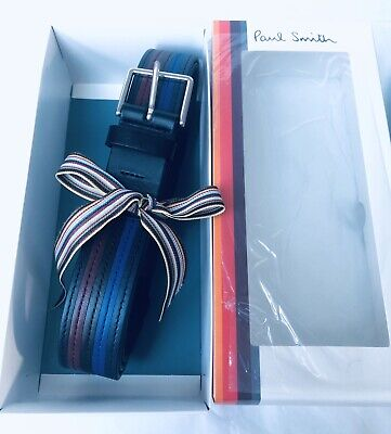 £65 • Buy Paul Smith Men Belt 100% Leather Colour Band Made In Spain Black 36' With Box