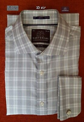 £8.50 • Buy M&S SARTORIAL Formal Shirt Sz 15 1/2 Slim Fit Double Cuff 100% Superior Cotton