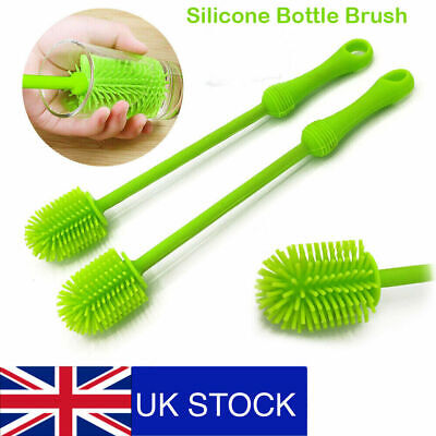 £4.98 • Buy Silicone Long Handle Wash Cup Brush Baby Milk Bottle Brush Glass Cup Clean Tool