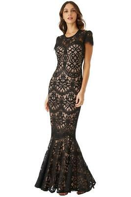 £18.99 • Buy GODDIVA BLACK LACE CAPPED SLEEVES MAXI DRESS SIZE 10  New With Tags