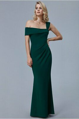 £15.99 • Buy GODDIVA EMERALD GREEN OFF SHOULDER PLEATED MAXI DRESS SIZE 10  New With Tags