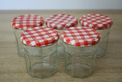 £4.99 • Buy 5 X Bonne Maman Empty Jam Jars 370g Size With Red Gingham Pattern Lids.