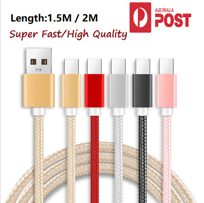 AU4.99 • Buy  Braided Fast Charging  USB C Type C Cable 1.5M 2M For Android Samsung Huawei