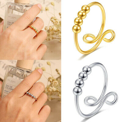 AU7.99 • Buy Fidget Rings For Anxiety Women Adjustable Simple Beads Rings Spinner Band Rings