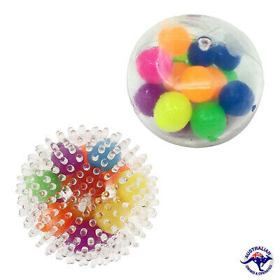 AU12.99 • Buy Sensory Squishy Balls Stress Relief Balls Spiky Toys For Kids, DNA Squeeze Balls