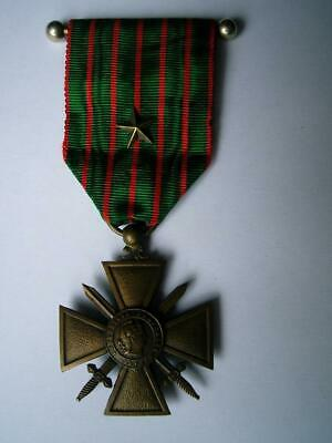 £24.99 • Buy WWI French Bronze Medal Croix De Guerre Military Bravery & Star Citation 1914 16