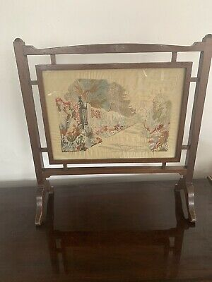 £75 • Buy Art Deco Silk Embroidered  Small Fire Screen Scene Of The Cotswold - Stroud
