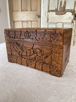 £25 • Buy Vintage Chinese Oriental Carved Camphor Wood Box Wooden Box