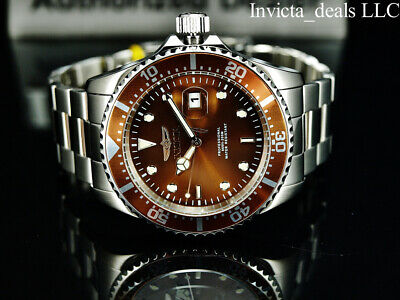 $59.99 • Buy NEW Invicta Men's 43mm Pro Diver SUBMARINER Silver Tone BROWN DIAL 200m SS Watch