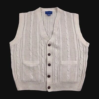 $31.20 • Buy Vtg Towncraft Mens 2XL Knit Cable Cardigan Acrylic Sweater Vest (B2)