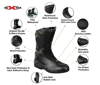 £59.99 • Buy Men Motorcycle Motorbike Boots Leather Touring Shoes Waterproof CE Armour Black