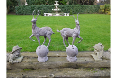 £499.99 • Buy Pair Of Stag Statues Garden Ornament Cast Iron Stag Deer Lawn Statues 1920s