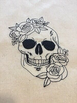 £8.99 • Buy Skull With Roses Beige Tote Bag Gift Folds Cotton Can Personalise  Goth Quirky
