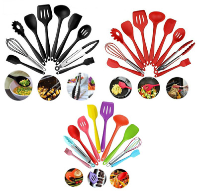 £10.99 • Buy 10pc Set Kitchen Cooking Utensil Utensils Stainless Steel Silicone Spoon Tool Uk