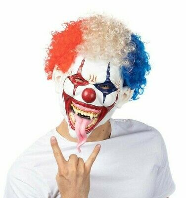 £12.99 • Buy Scary Clown Latex Mask With Attached Hair Halloween Fancy Dress Costume