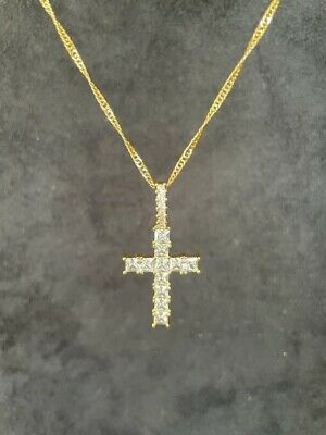£15 • Buy 18K 18Ct Gold Filled Chain Necklace With Cubic Zirconia Crucifix Cross Pendant
