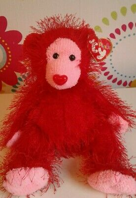 £3.50 • Buy Rare Ty Punkies Beanie Babies FLAME Bear Red Heart Nose Love Gift Teddy -w/TAGS!