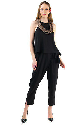 £29.99 • Buy RRP €465 HALSTON HERITAGE Jumpsuit Size 10 / L Layered Top Drop Crotch Cropped