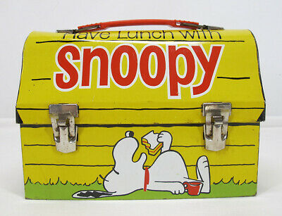$ CDN46.76 • Buy Vintage GO TO SCHOOL / HAVE LUNCH WITH SNOOPY DOME 1968 Metal Lunch Box  Yqz