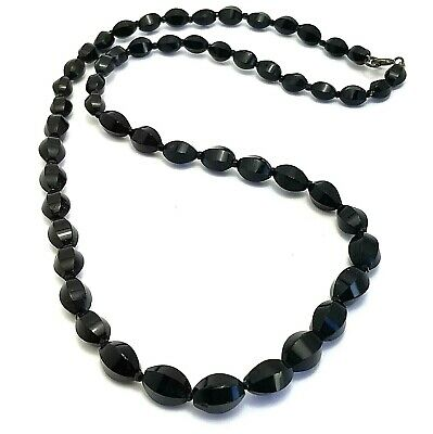 £18 • Buy Vintage Costume Jewellery French Jet Black Glass Bead Sterling Silver Necklace