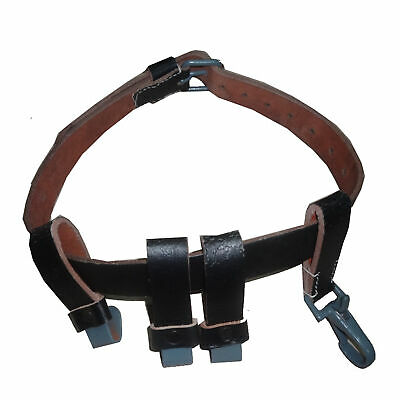 £22.38 • Buy German WW2 Black Leather Helmet Carry Strap With Metal Clips Carrier Only Q116