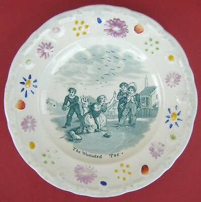 £15 • Buy Pearlware Childs Plate The Wounded Toe Mid 19thc