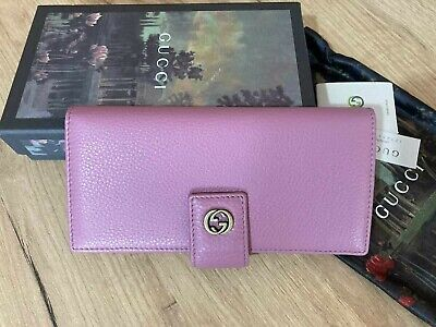 AU399.55 • Buy GUCCI Women Wallet Light Pink Leather Long Leather Purse Gold GG Authentic