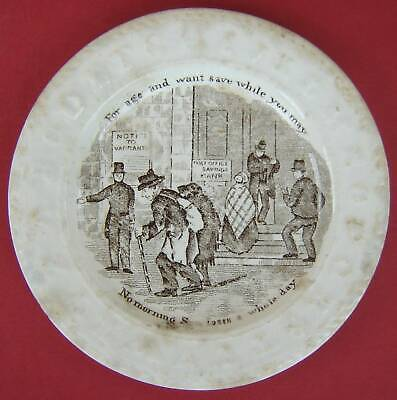 £15 • Buy Pearlware Childs Plate Post Office Savings Bank Mid 19thc