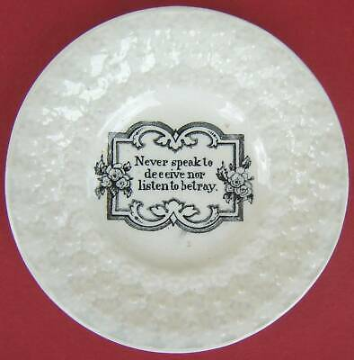 £15 • Buy Pearlware Childs Plate Daisy Border Motto Mid 19thc