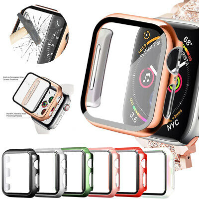 £3.99 • Buy IWatch Tempered Glass Screen Protector Case Cover For Apple Watch SE 6 5 4 3 2 1