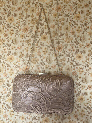 £10 • Buy Nude Accessorize Lace Clutch Bag With Gold Chain Handle