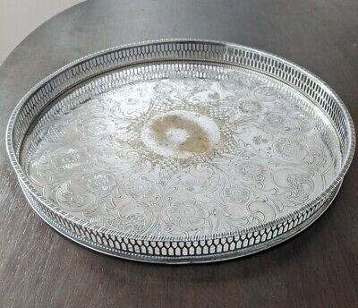 £5 • Buy VINERS OF SHEFFIELD VINTAGE LATTICE EDGE SILVER PLATED Gallery TRAY 30cm