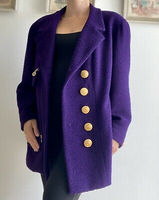 £304.44 • Buy Authentic CHANEL COCO TWEED Gold CC BUTTONS JACKET 46 Coat Rare W/ Skirt