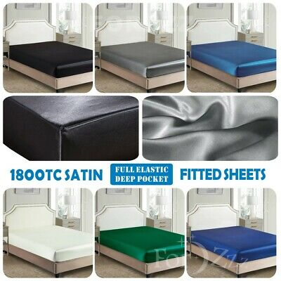 AU33.99 • Buy 1800TC Silky Satin Fitted/Bottom Sheet Bed Single/KS/Double/Queen/Super King Bed