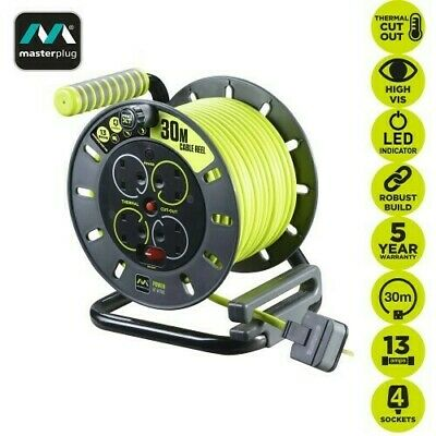 £35.49 • Buy 30M Cable Reel13A Pro-XT 4 Gang Socket Open Extension Lead Cable Masterplug