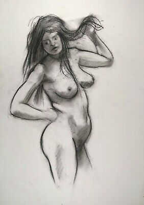 £6 • Buy Impressionist Nude In Charcoal Drawing On White Paper A3