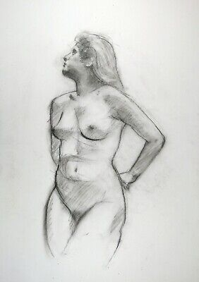 £6 • Buy Young Nude Woman In Charcoal Drawing On White Paper A3