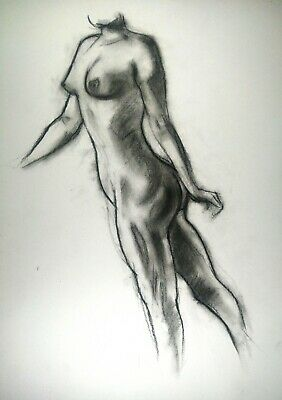 £3.09 • Buy Nude Female In Charcoal Drawing On White Paper A3