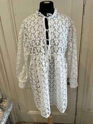 £29.99 • Buy Zara White Lace Oversize Mini Dress, Size M, Sleeve, Sold Out Bloggers Fave BNWT