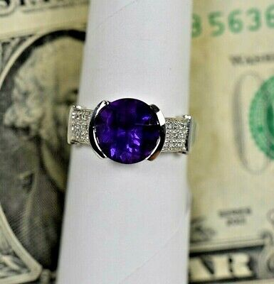 AU725.97 • Buy SOLID 14k White Gold  Natural Amethyst Diamond  Ladies Ring  Birthstone  Coctail