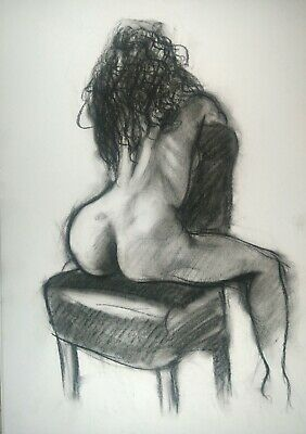 £4.60 • Buy Rear View Nude Woman Posing On A Chair Drawing In Charcoal On White Paper A3