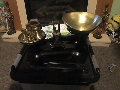 £30 • Buy Vintage Kitchen Scales. Cast Iron & Brass With Bowl And Imperial Weights