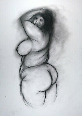 £6.25 • Buy Nude Big Beautiful Woman BBW In Charcoal On White Paper Size A3