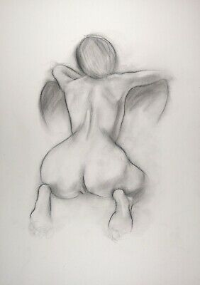 £6 • Buy Nude Woman Bending Over A Chair Drawing In Charcoal On White Paper A3