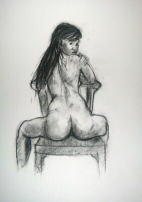 £4.06 • Buy Life Sketch Drawing Nude Woman On A Chair In Charcoal On White Paper Size A3