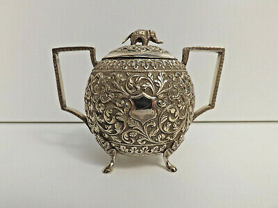 £250 • Buy 19th Century Indian Silver Repousse Ball Shaped Lidded Pot With Elephant Finial