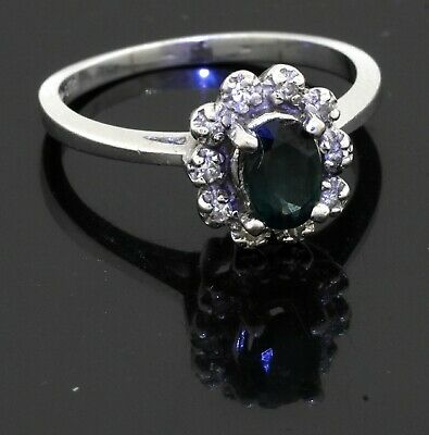 £41.06 • Buy 14K White Gold 0.60CT Diamond & Blue Sapphire Cluster Cocktail Ring Size 6