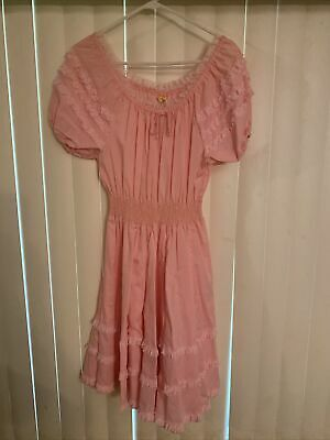 $37.99 • Buy Partners Please Vintage Square Dance Dress Size 10 Western Pink With Lace
